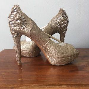 Gianni Binni Gold Sparkly Heels